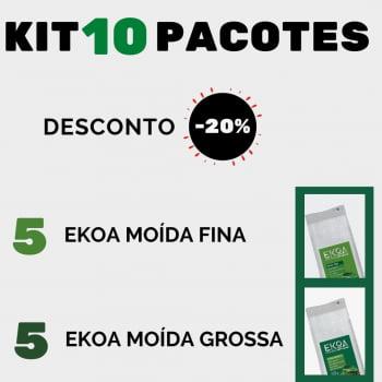 KIT 10 PACOTES de 1 kg de erva-mate EKOA (5 kg Moída Fina e 5 kg Moída Grossa)